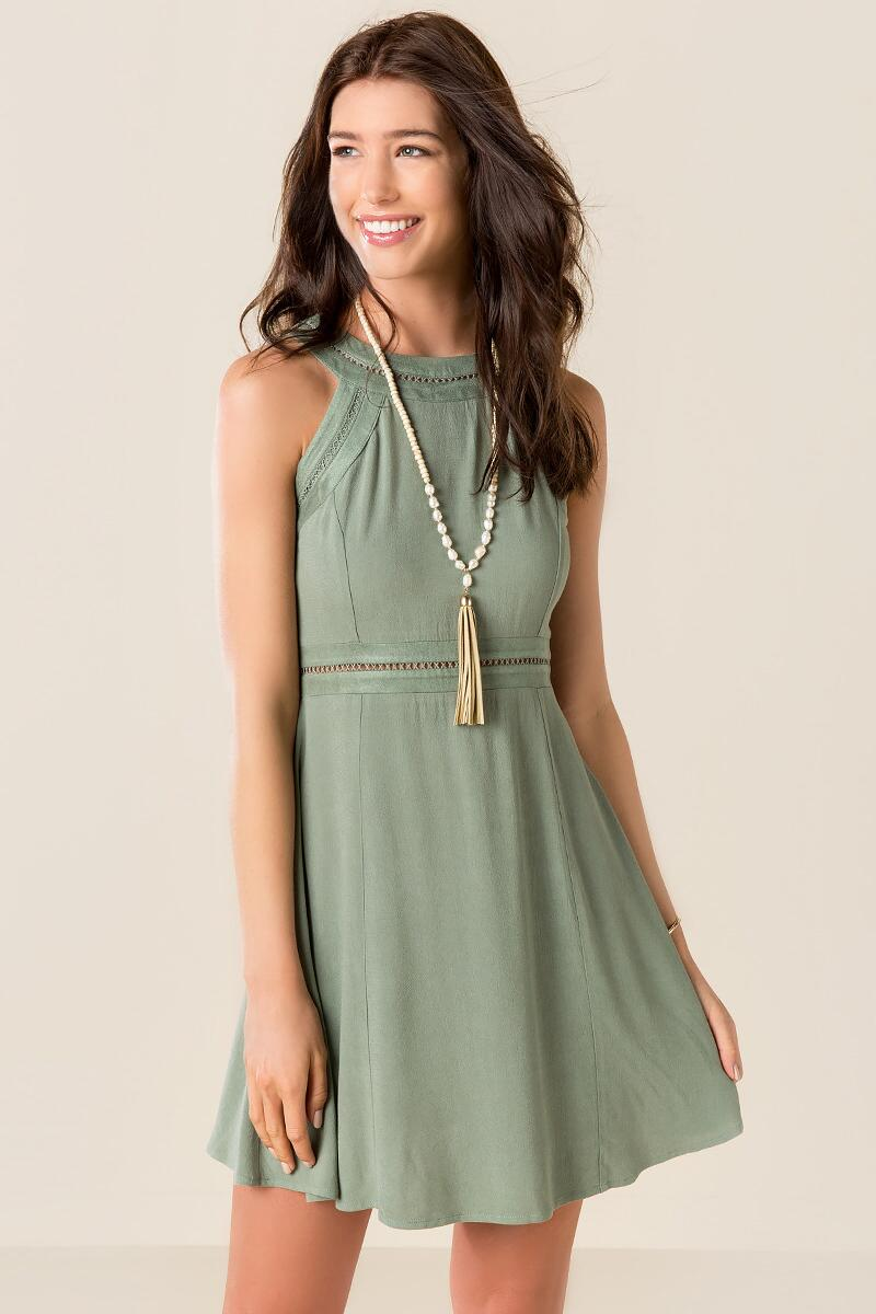 Shayla Solid Dress-  olv-cl