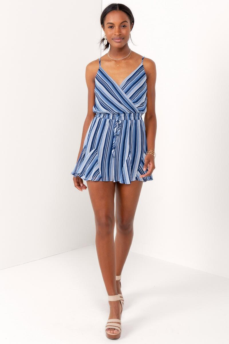 Angelina Ruffled Romper-  blue-cl4