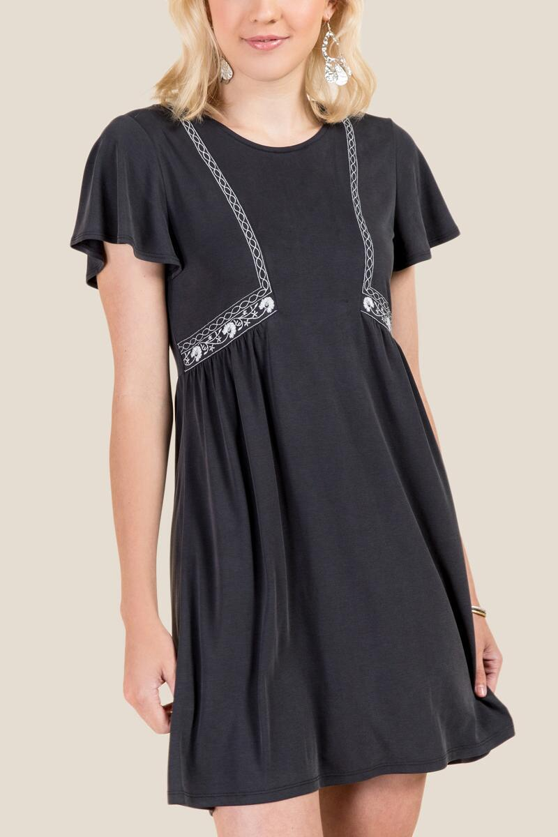 Lllian Embroidered Ruffle Sleeve Shift Dress