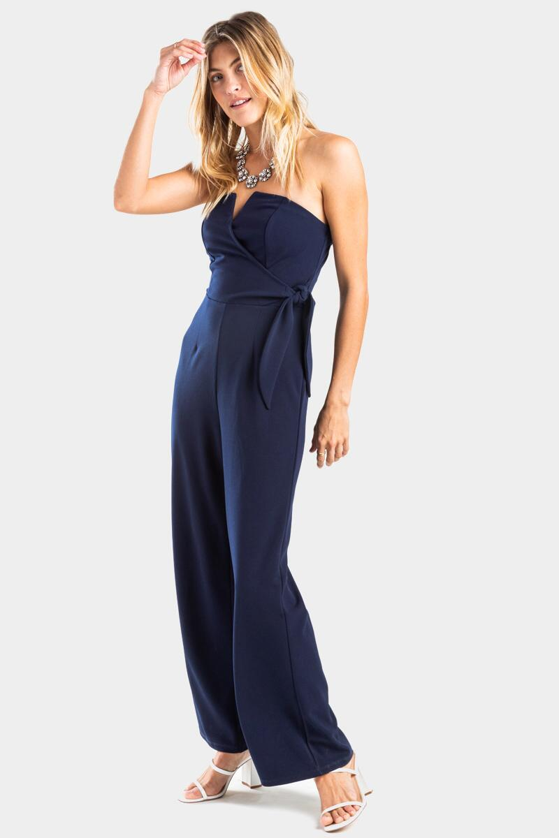 Kathleen Strapless Jumpsuit-  navy-cl