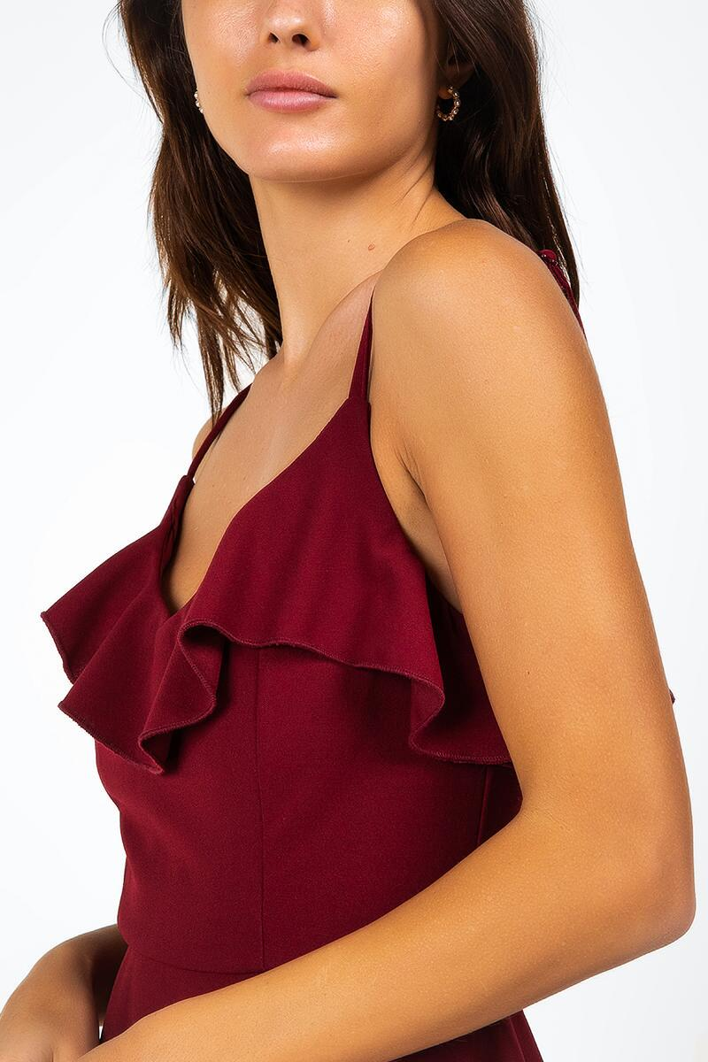 Avalynn  Ruffle Front Dress- Wine 4