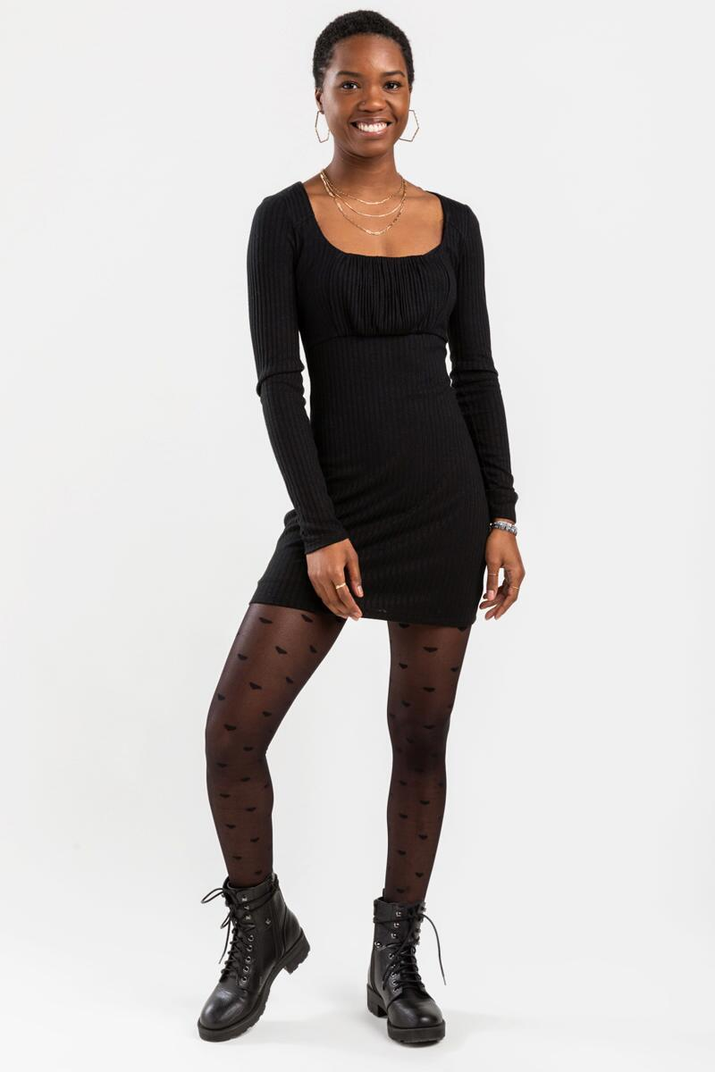 Mariana Ribbed Mini Dress-Black 2