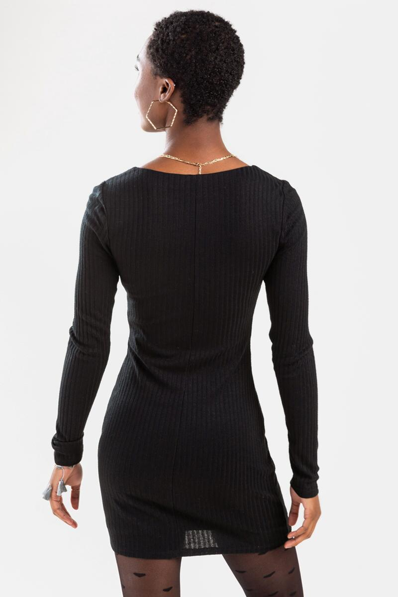 Mariana Ribbed Mini Dress-Black 3