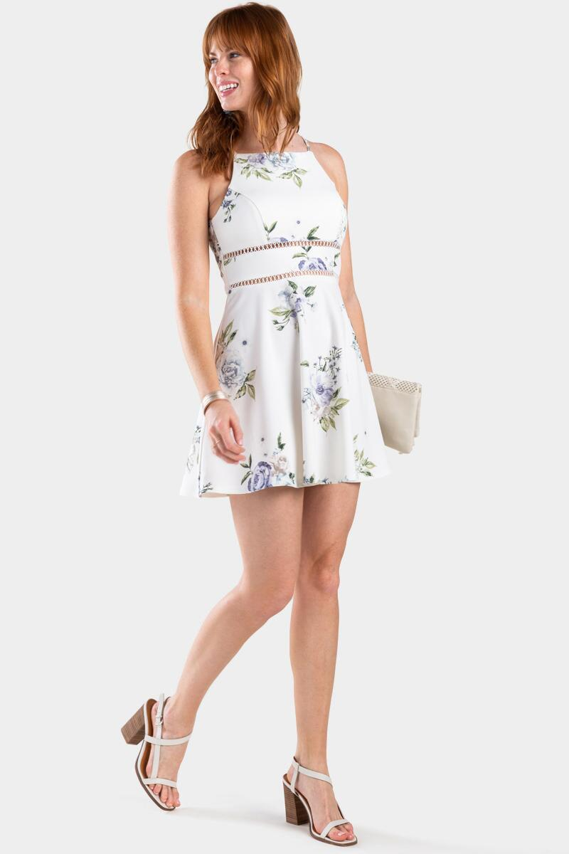 Desi Floral Ladder Trim Dress- White