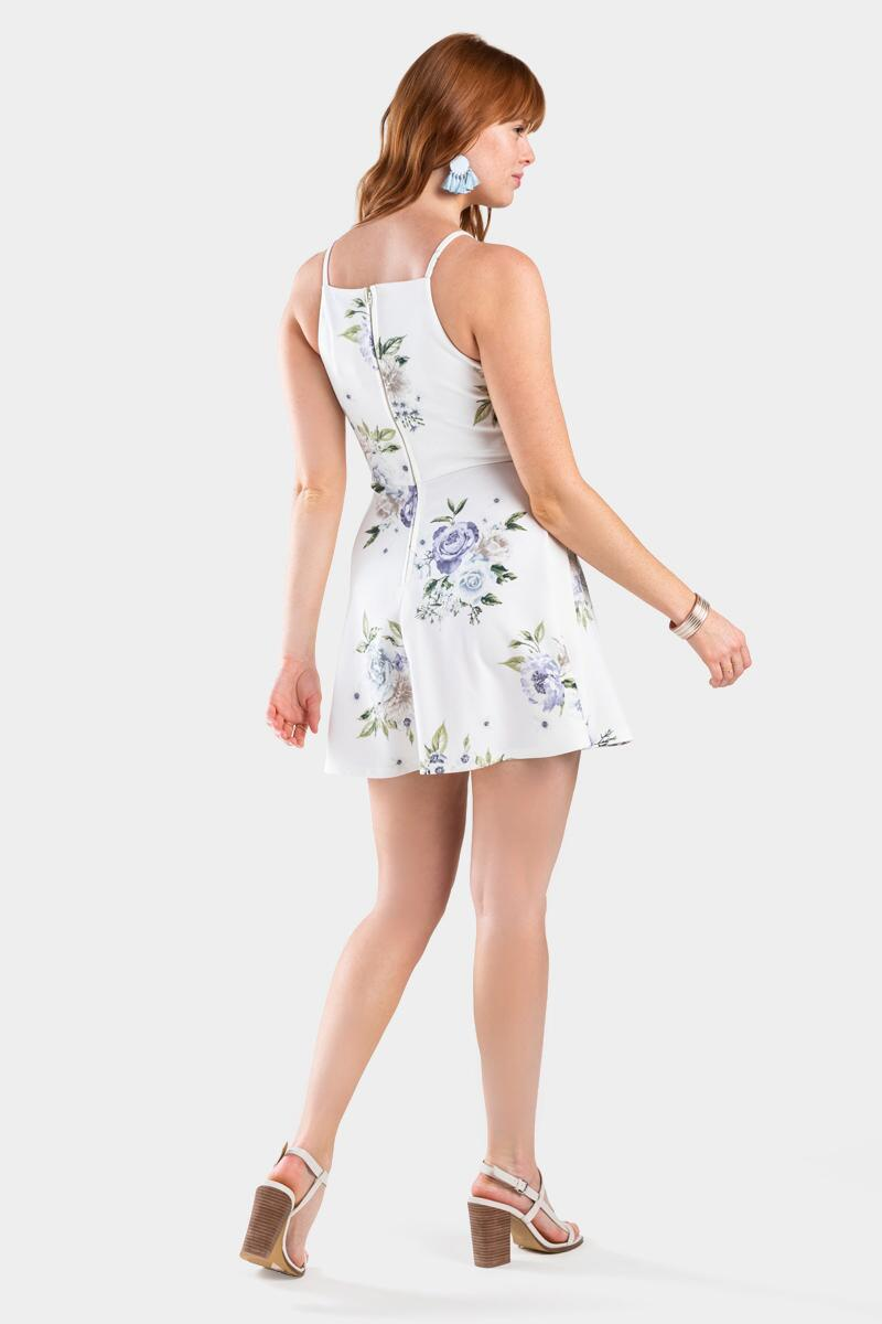 Desi Floral Ladder Trim Dress- White 2
