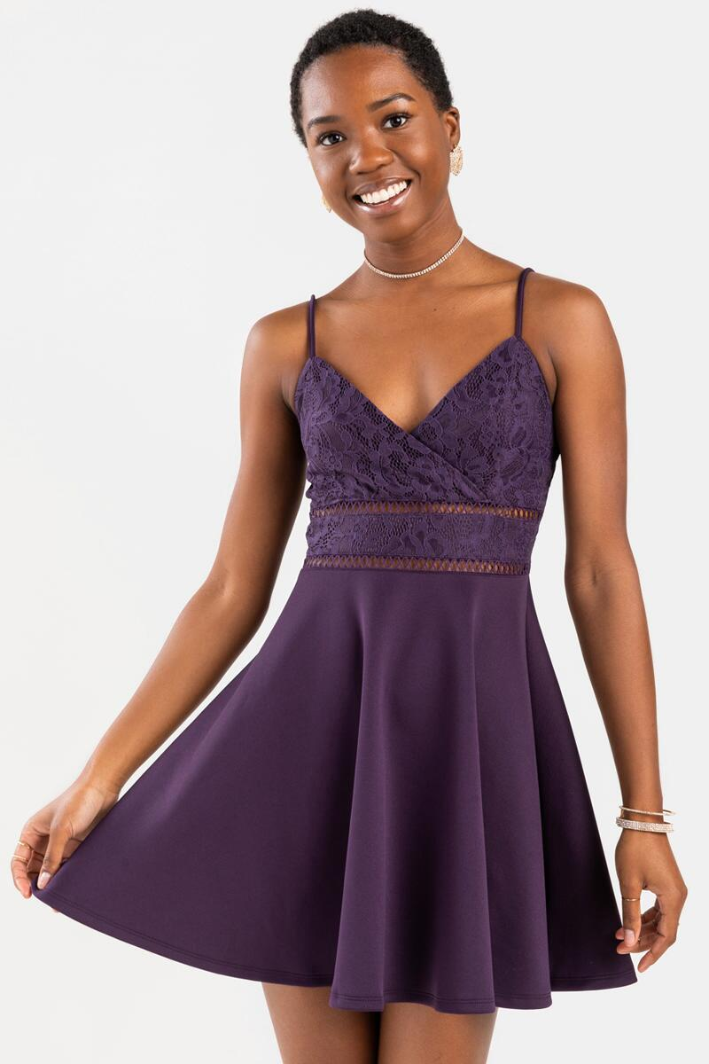 Anitta Ladder Trim Mini Dress-Purple