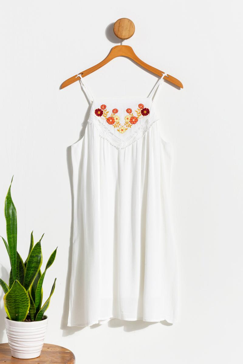 Emma Embroidered Shift Dress- Ivory
