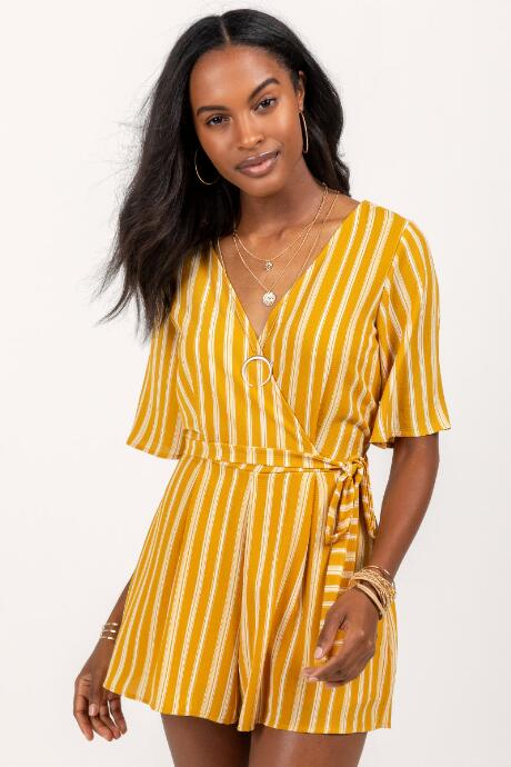 Carrie Striped Surplice Romper