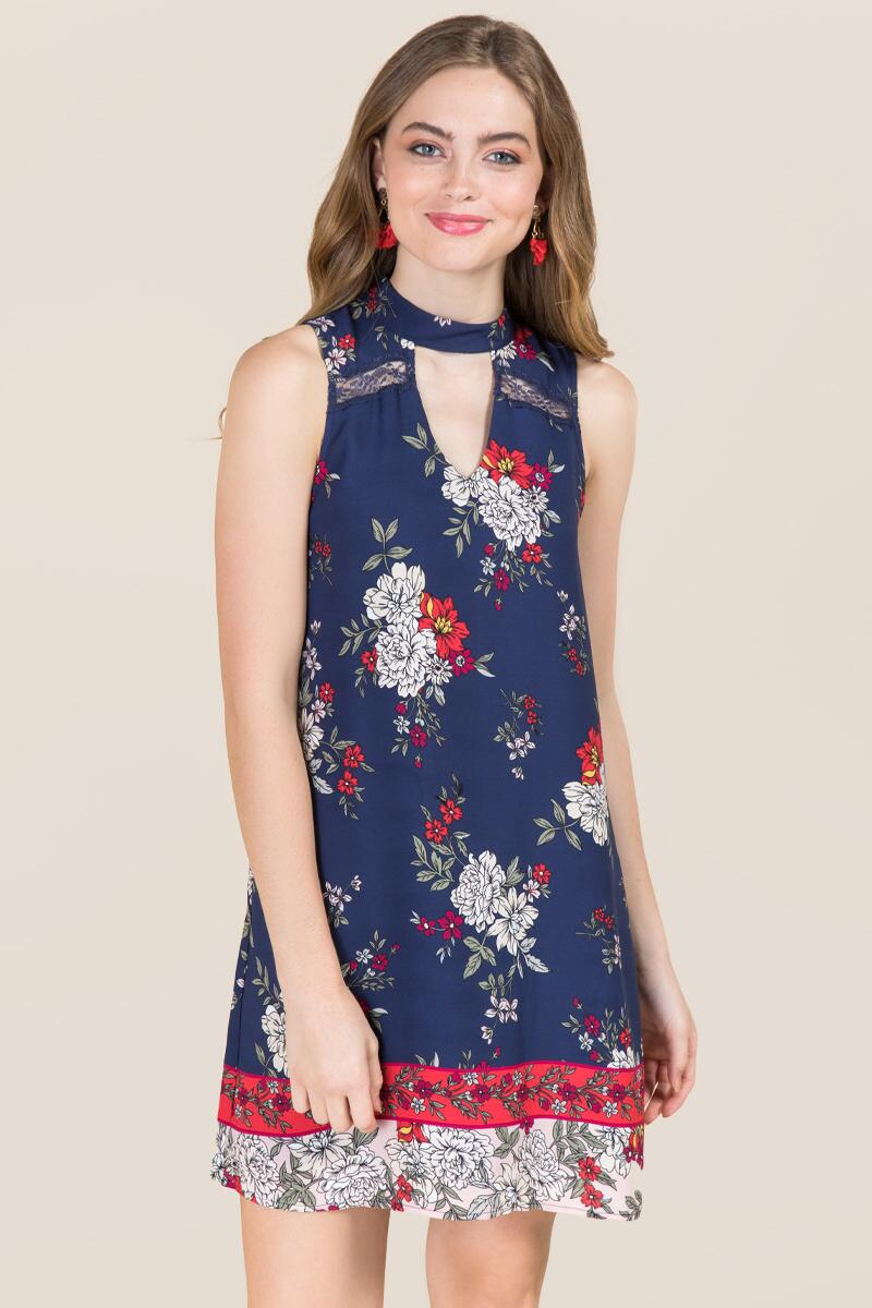 Bexley Gigi Floral Border Print Shift Dress-  navy-cl
