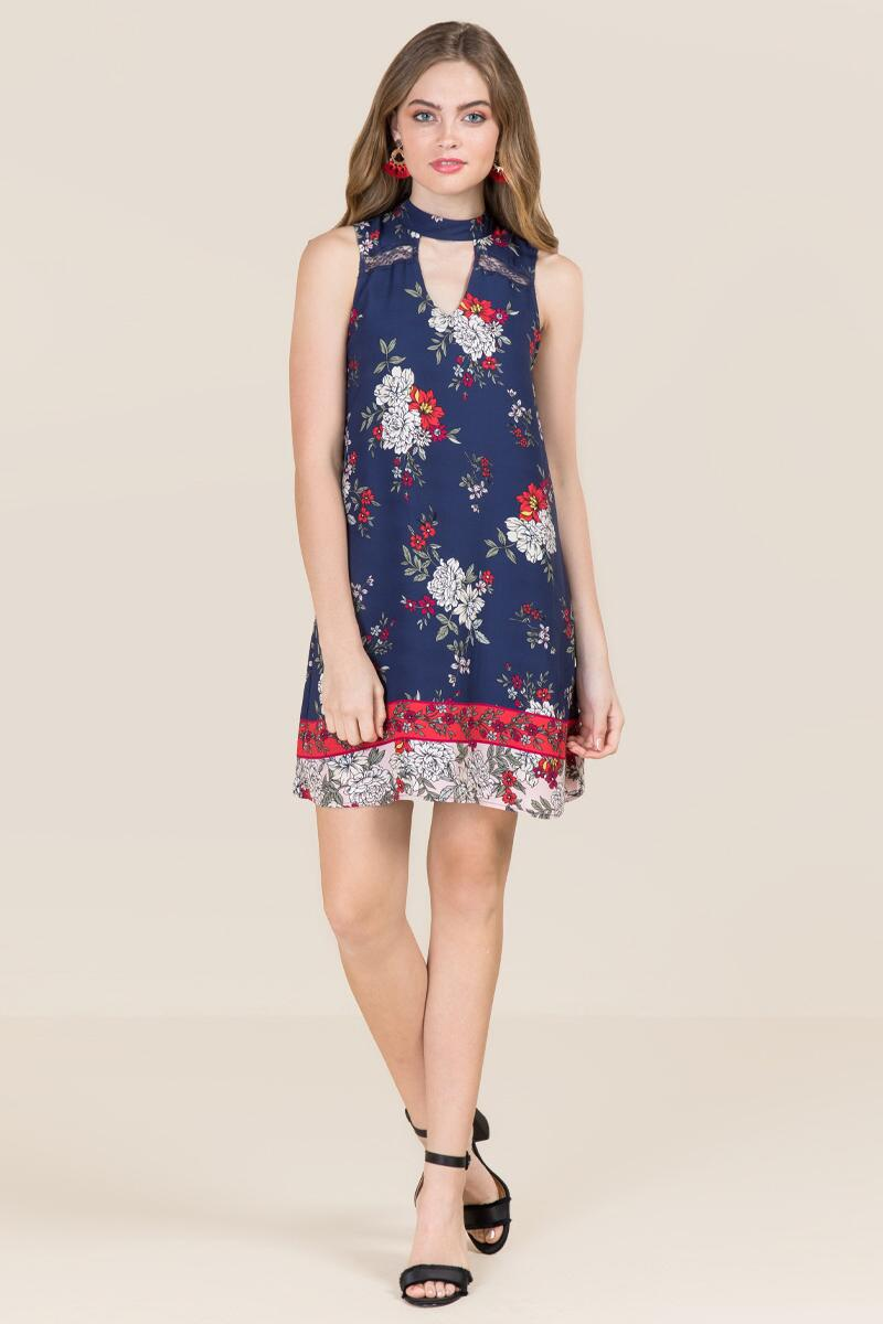 Bexley Gigi Floral Border Print Shift Dress-  navy-clmodel