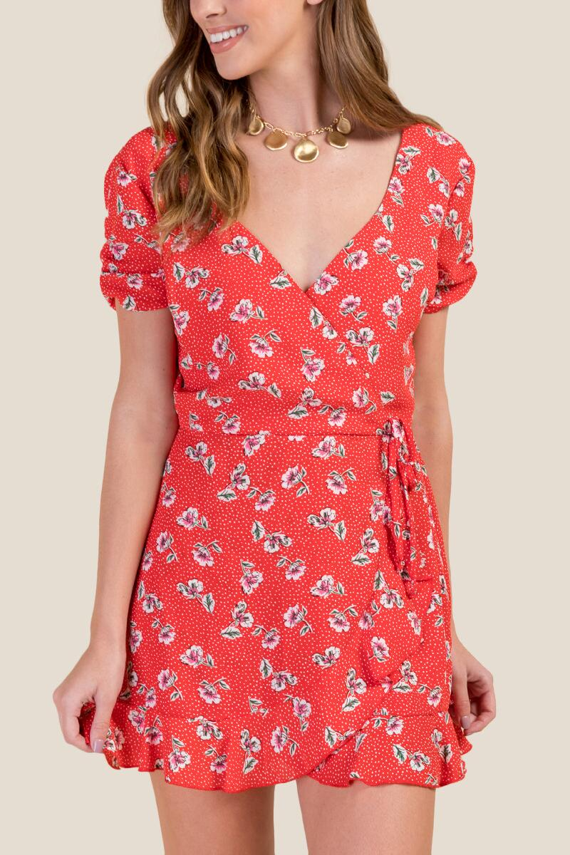 11036fbe6b98 Sylvie Floral Wrap Romper- red-cl