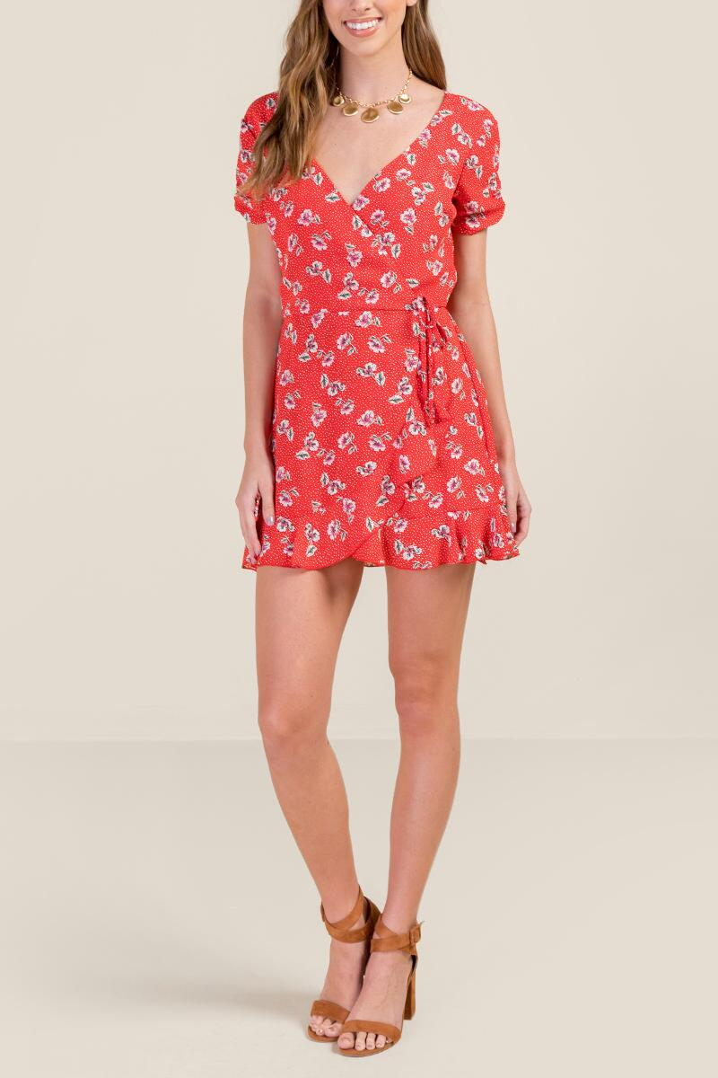 a7b610caedc3 Sylvie Floral Wrap Romper- red-cl4