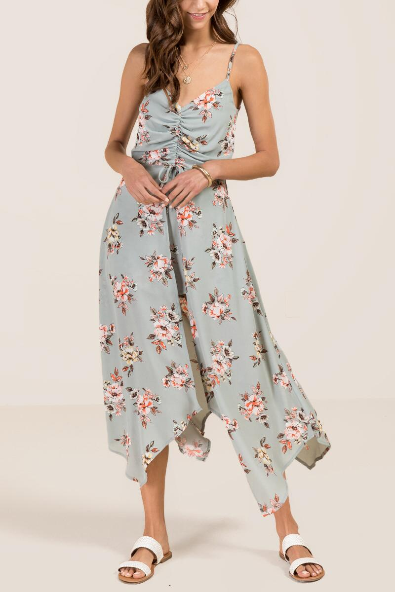 Everlie Cinch Front Floral Maxi Romper-  mint-cl