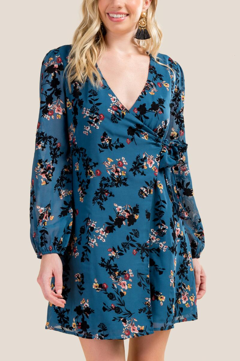 Addilyn Floral Wrap Dress-  dteal-cl