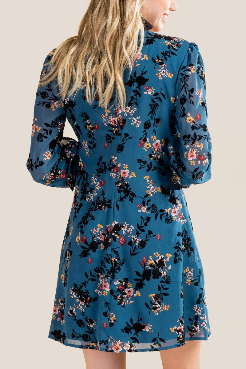 Addilyn Floral Wrap Dress-  dteal-cl2