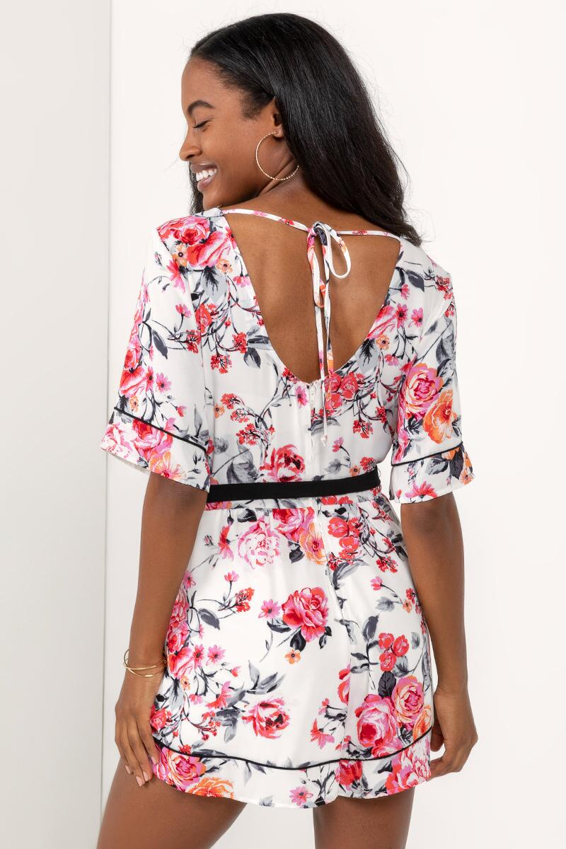 Alice Floral Ruffle Romper- Ivory 2