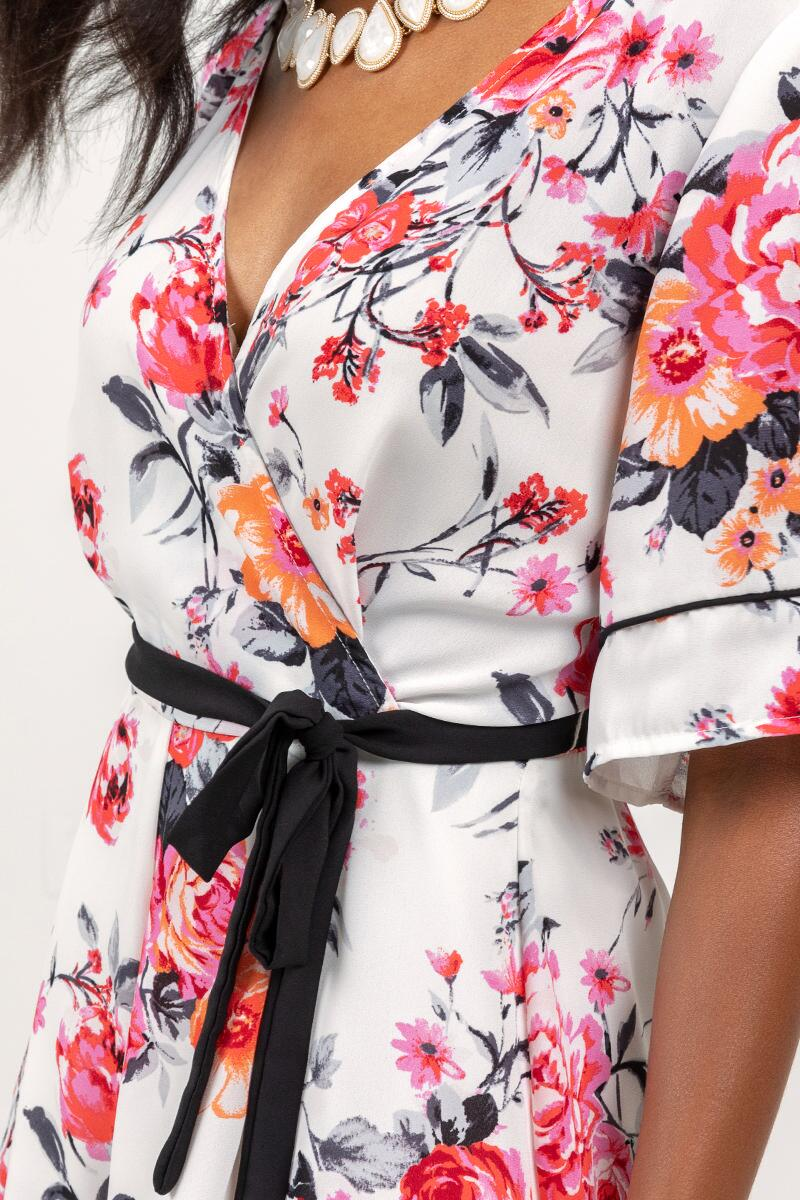 Alice Floral Ruffle Romper- Ivory 3