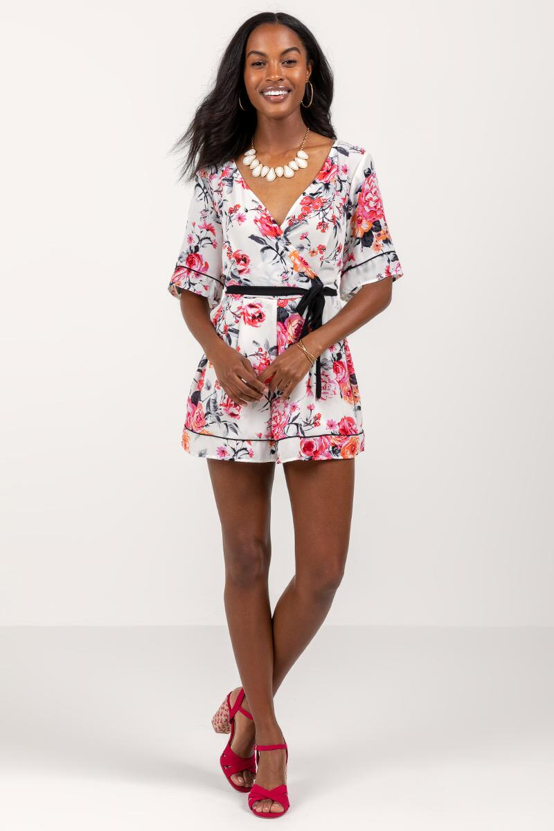 Alice Floral Ruffle Romper- Ivory 4