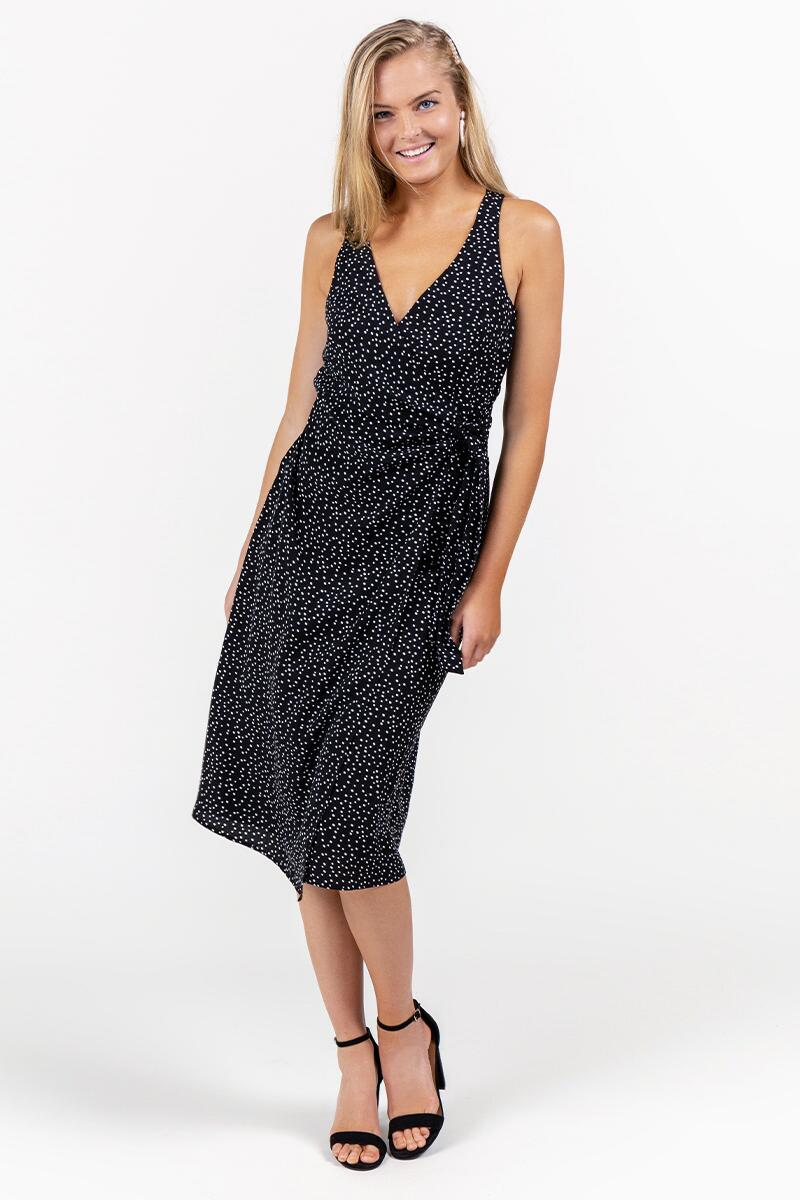Harlene Speckle Wrap Dress- Black
