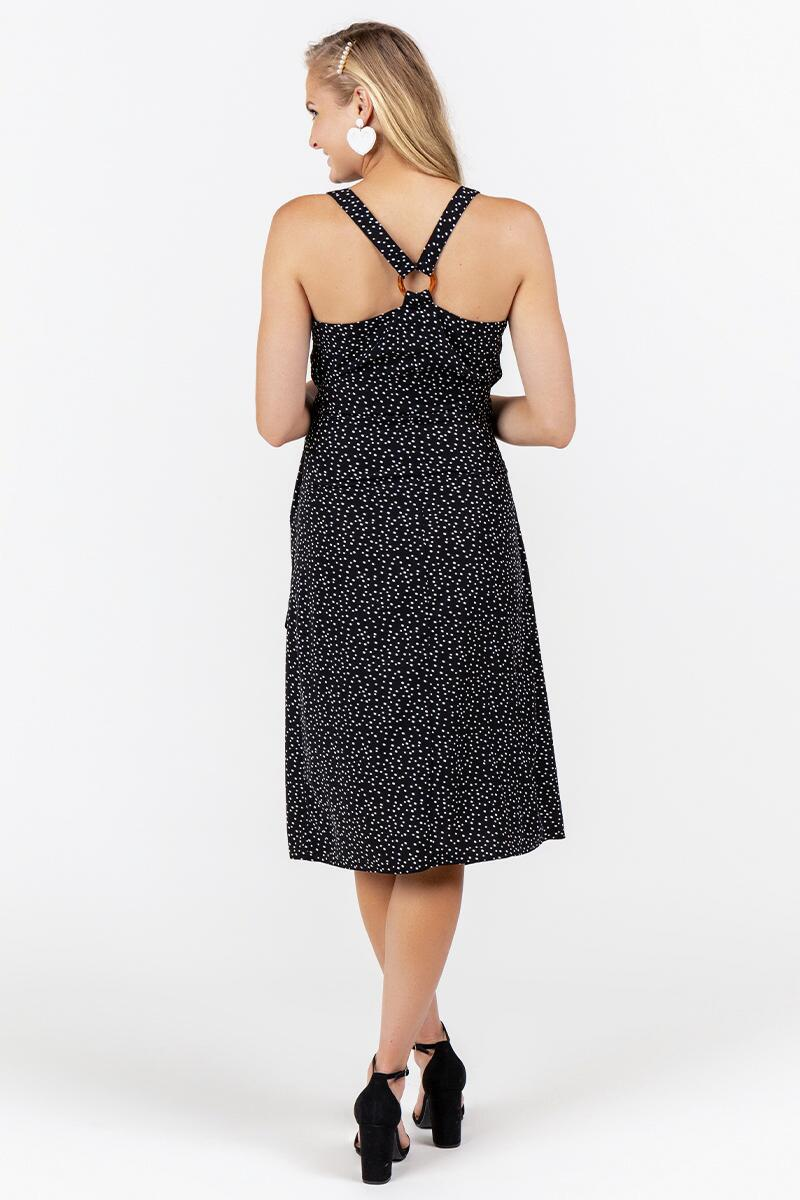 Harlene Speckle Wrap Dress- Black 2