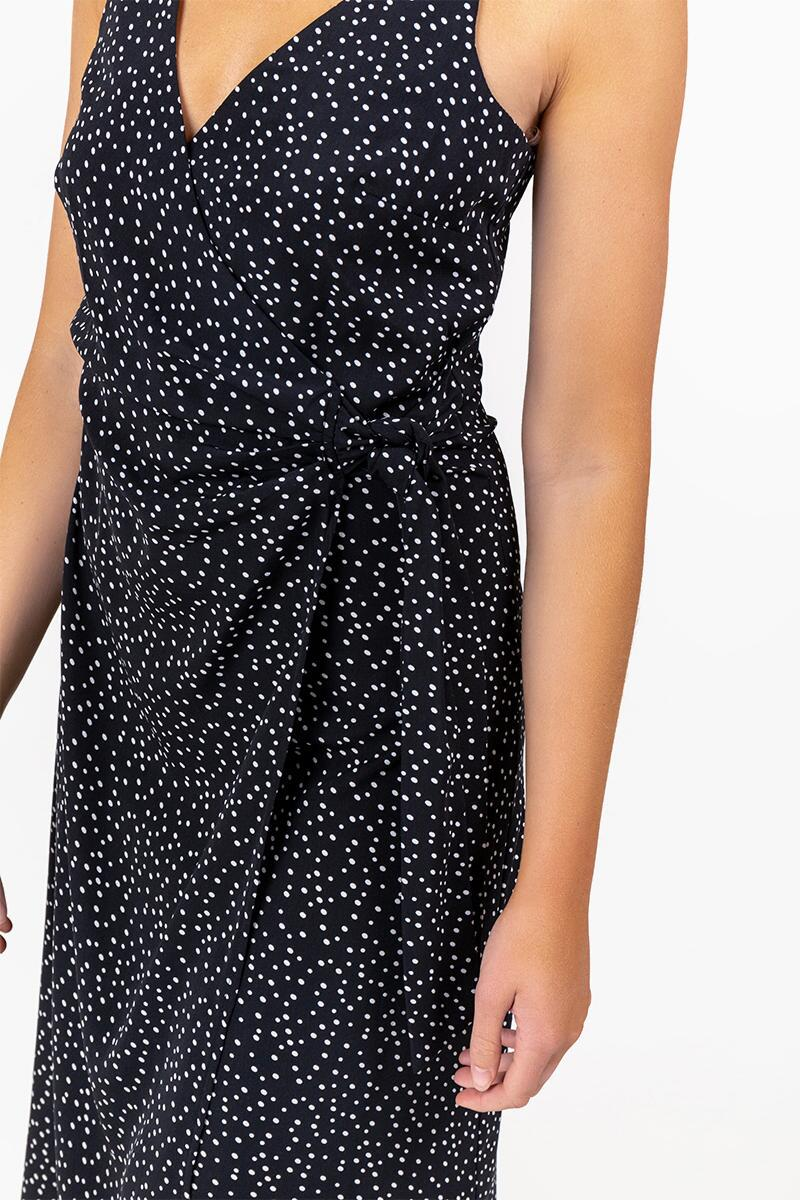 Harlene Speckle Wrap Dress- Black 4