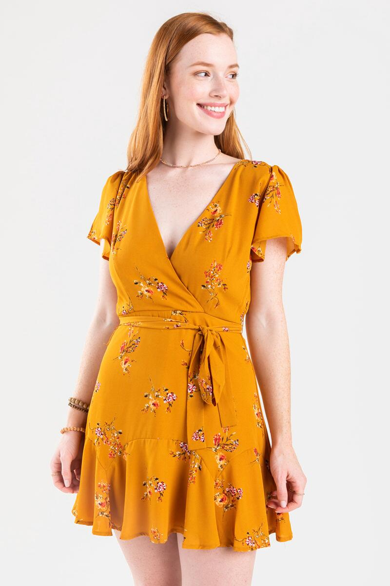 Genney Floral Surplice Godet Dress- Yellow