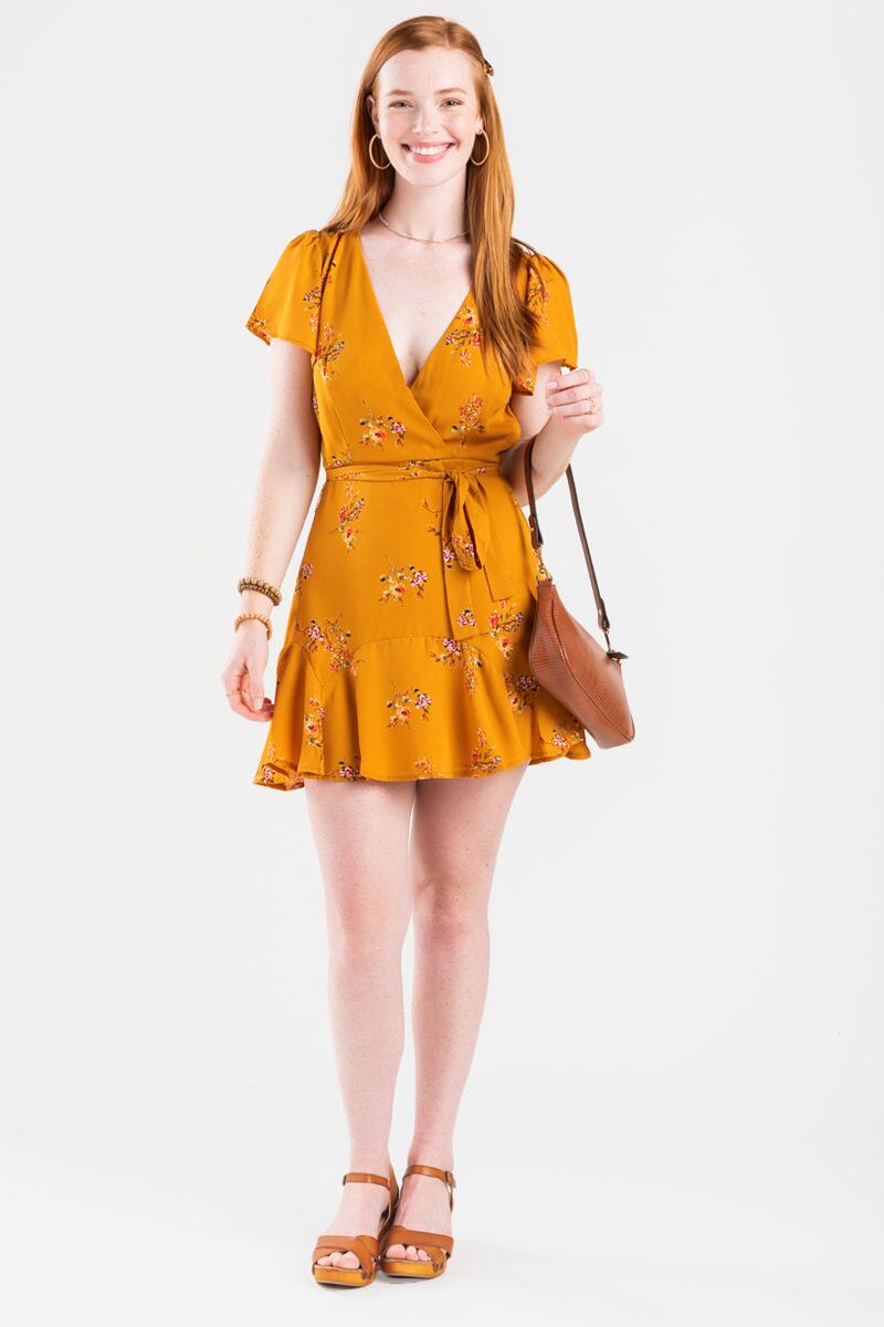 Genney Floral Surplice Godet Dress- Yellow 2