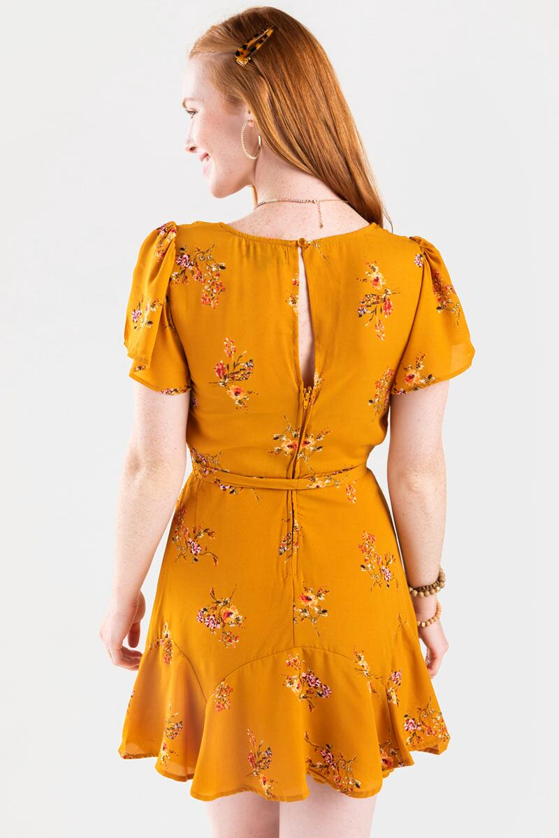 Genney Floral Surplice Godet Dress- Yellow 3