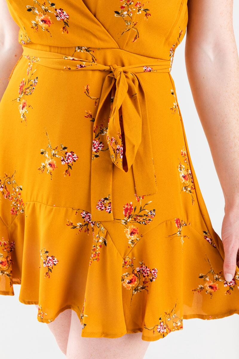 Genney Floral Surplice Godet Dress- Yellow 4