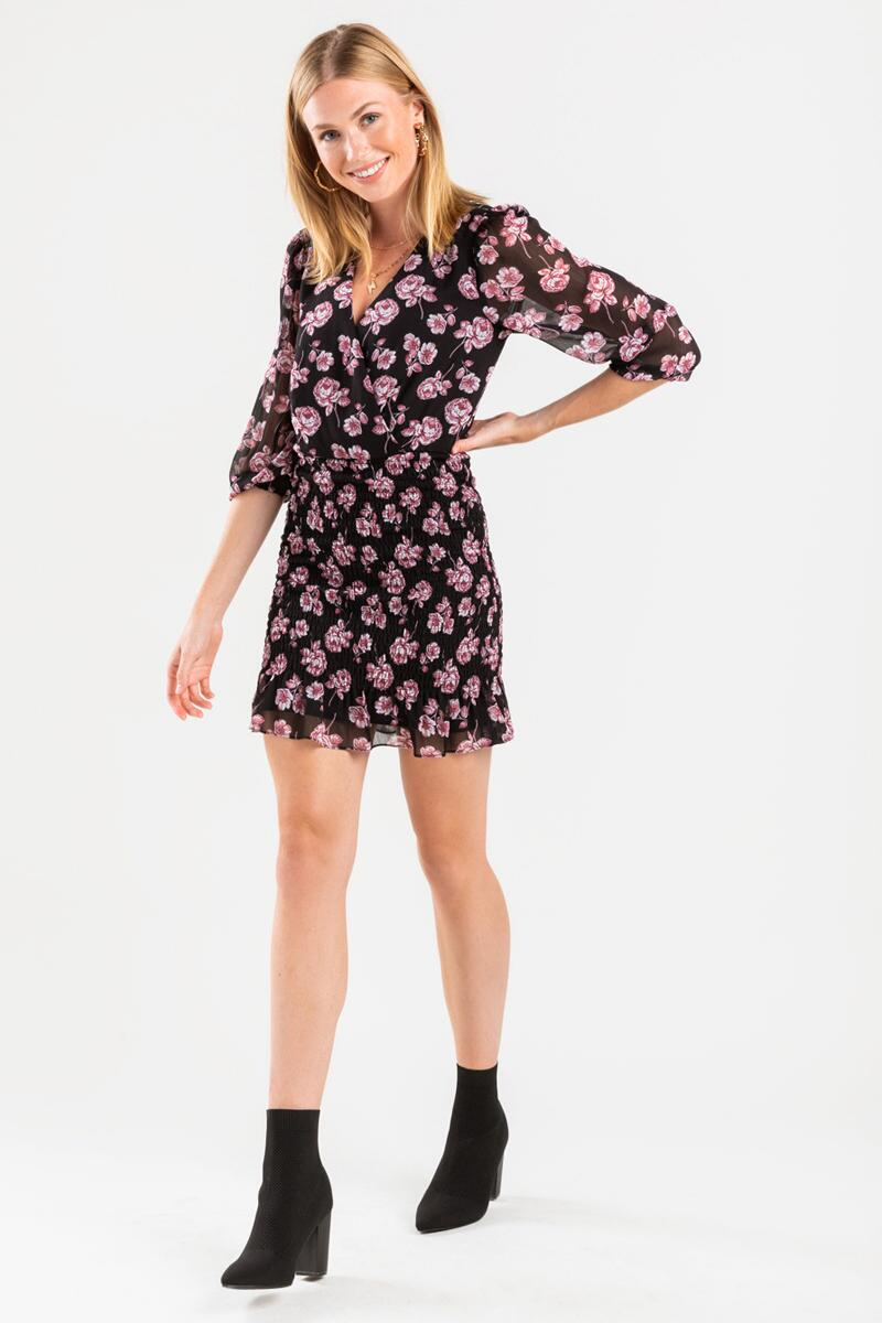 Andi Floral Smocked Mini Dress-  blk-cl2