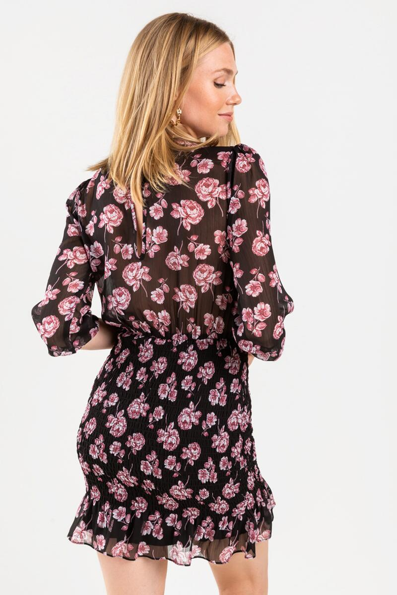Andi Floral Smocked Mini Dress-  blk-cl3