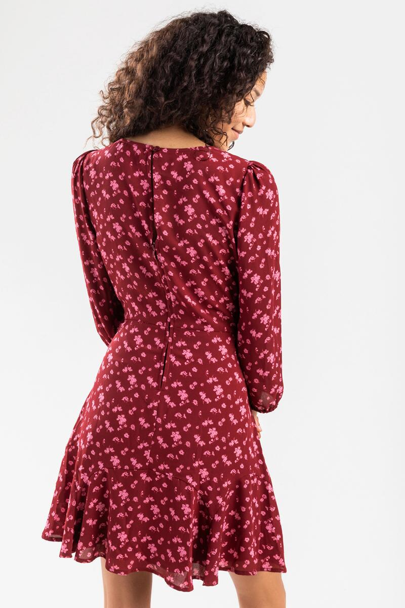 Jackie Floral Godet Dress- Burgundy 3