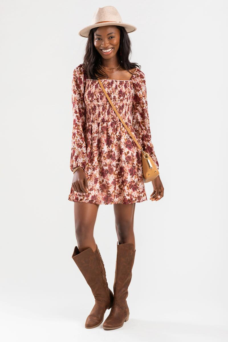 Cree Floral Smocked Mini Dress- Rose 2