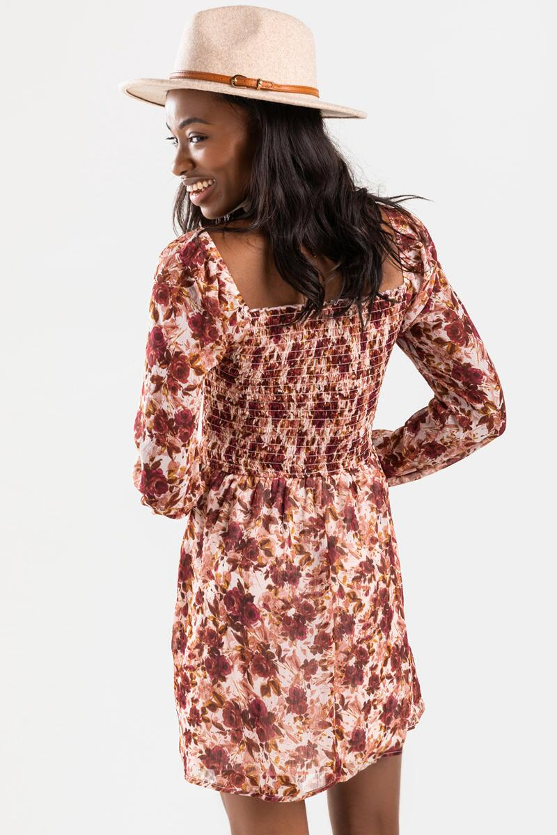 Cree Floral Smocked Mini Dress- Rose 3