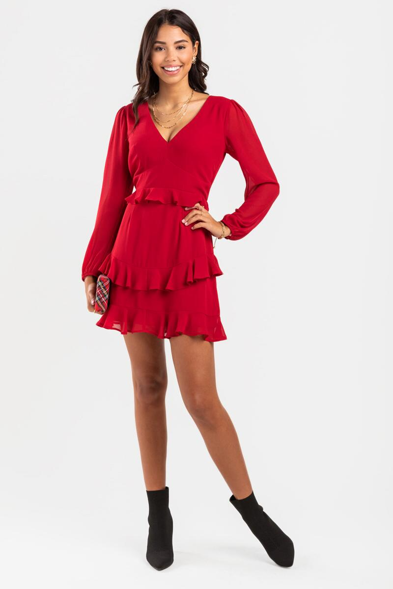 Kelsee Tiered Ruffle Mini Dress-  berry-cl2