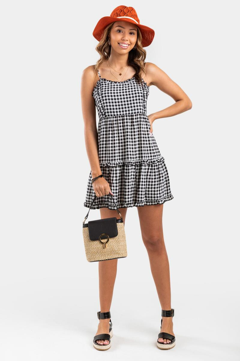 Ezra Gingham Mini Dress- Black 3