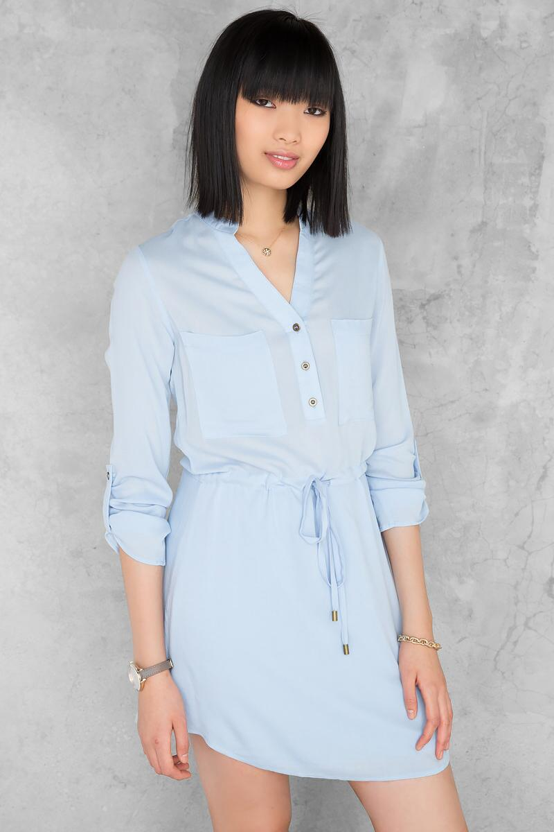 Bennett Solid Shirt Dress-  ltblu-cl