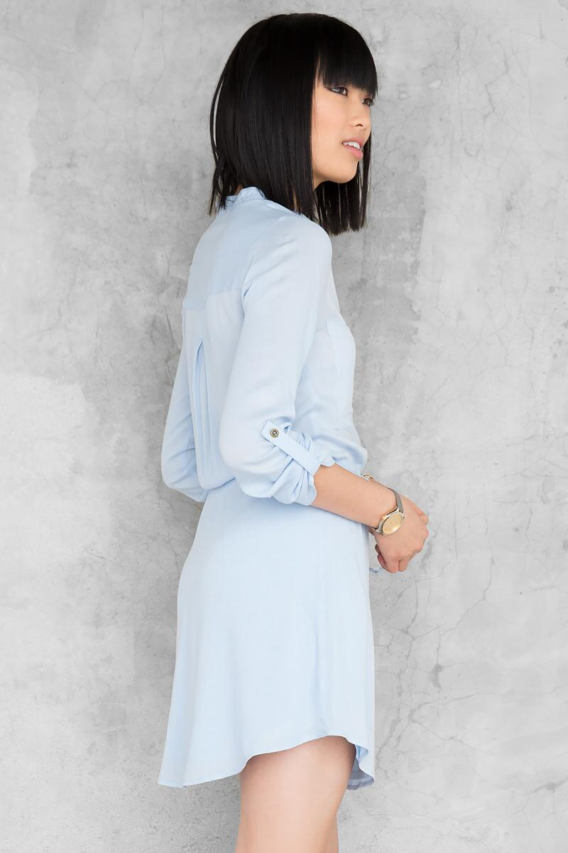 Bennett Solid Shirt Dress-  ltblu-clback