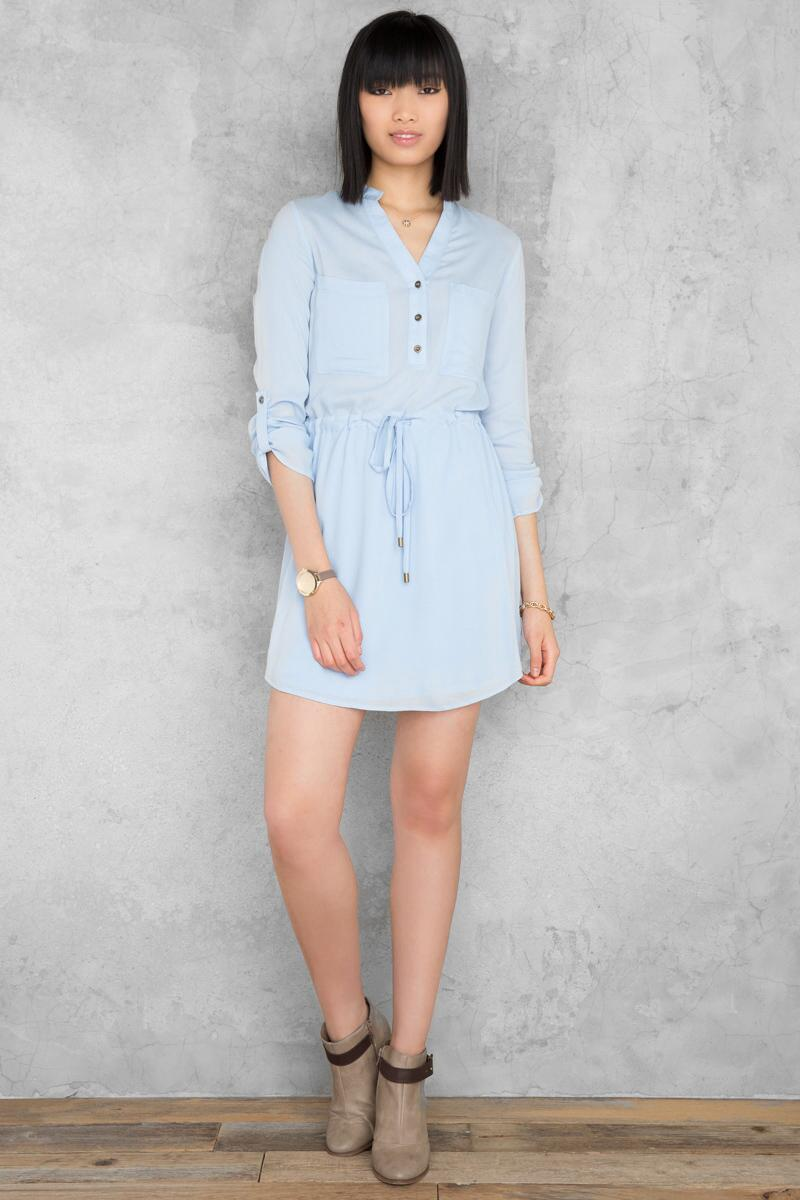 Bennett Solid Shirt Dress-  ltblu-clmodel
