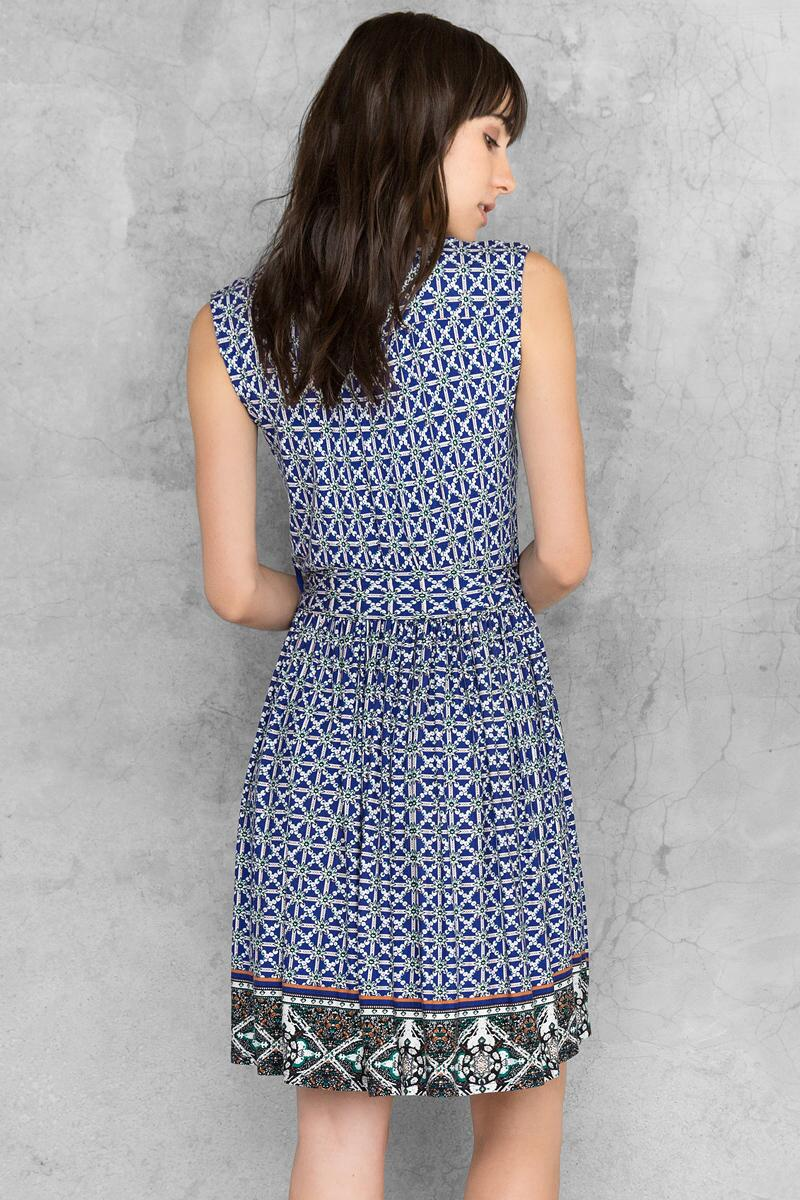 Kacey Printed Dress-  navy-clback