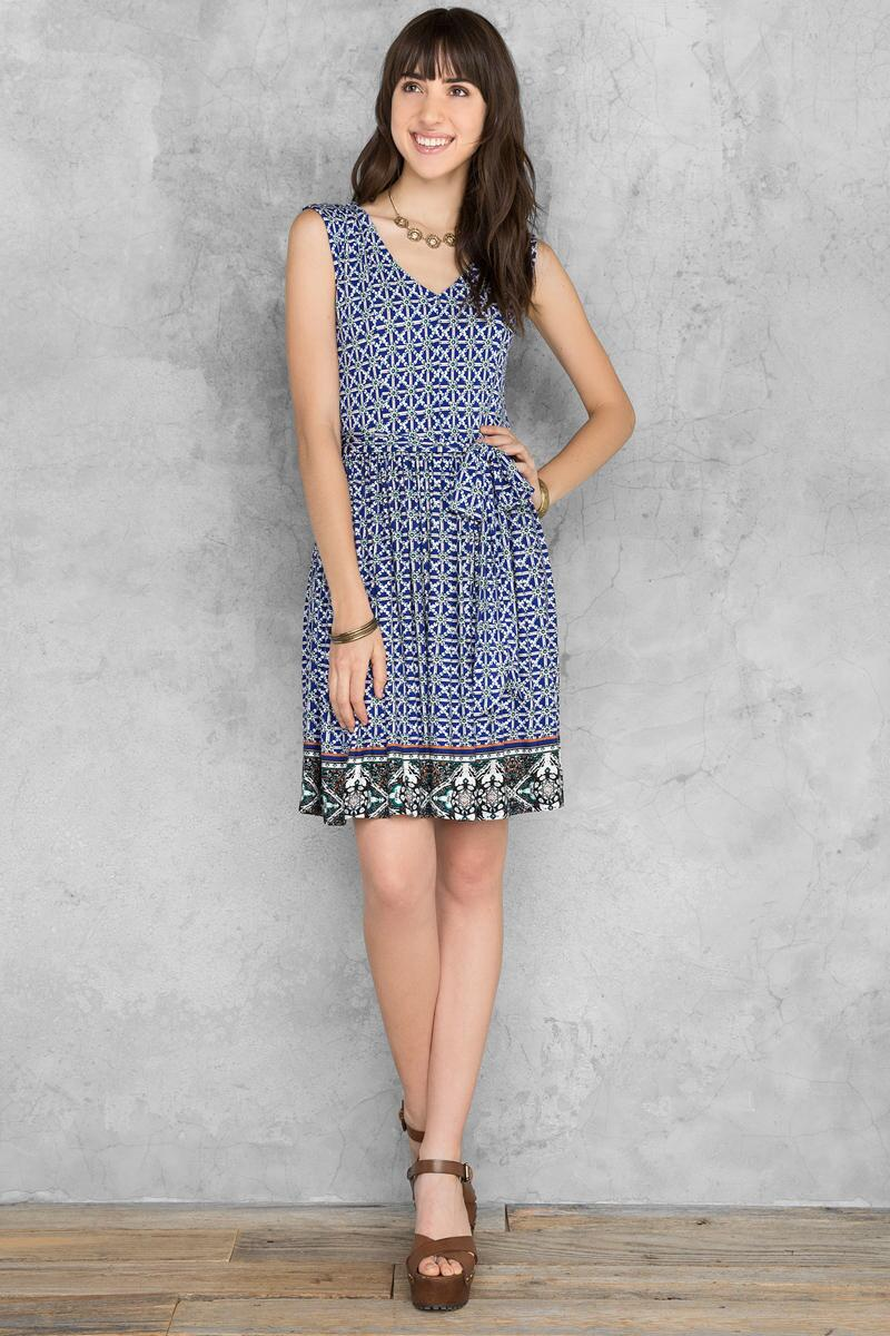 Kacey Printed Dress-  navy-clmodel