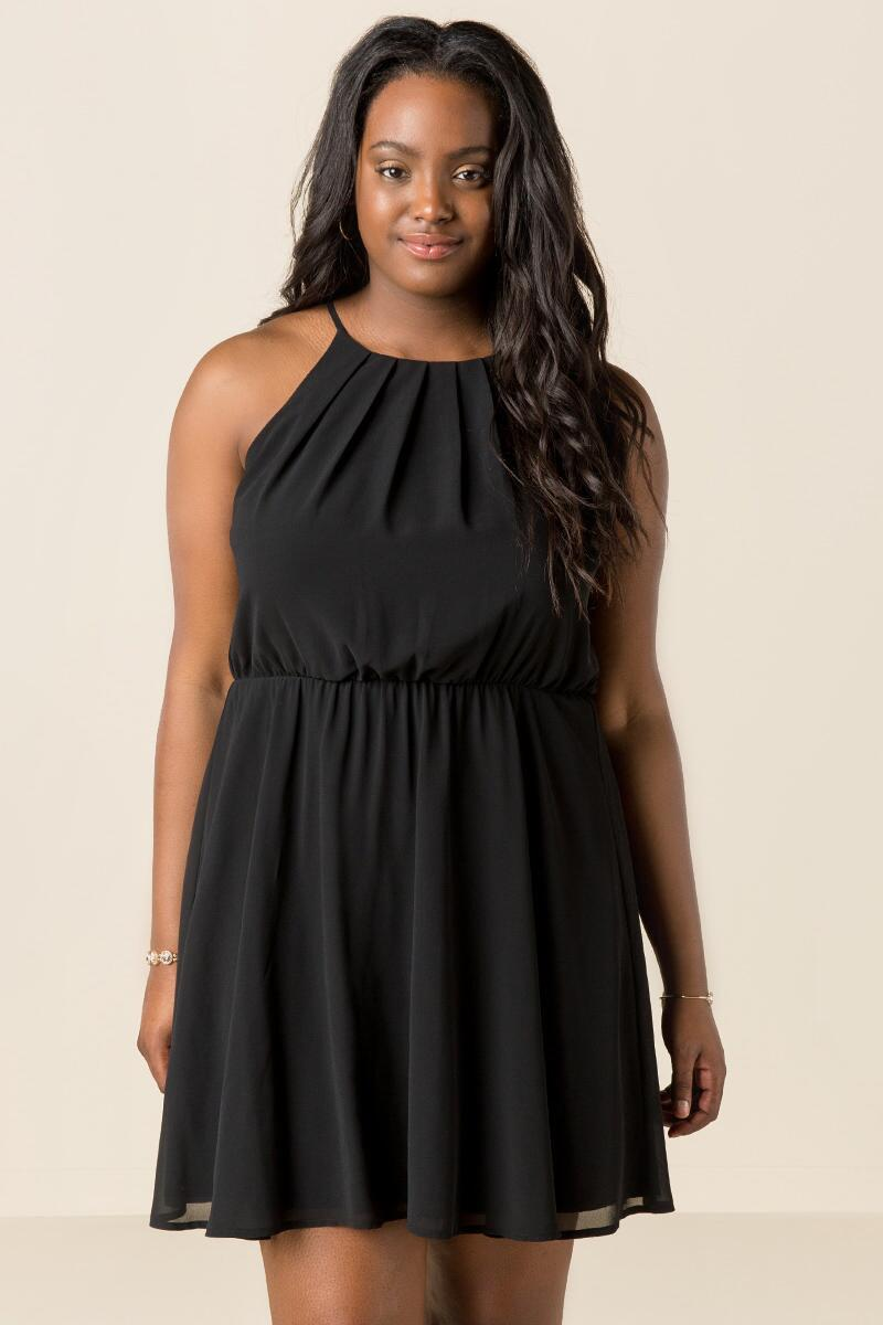 Solid Plus Size Immy Halter Dress | francesca\'s