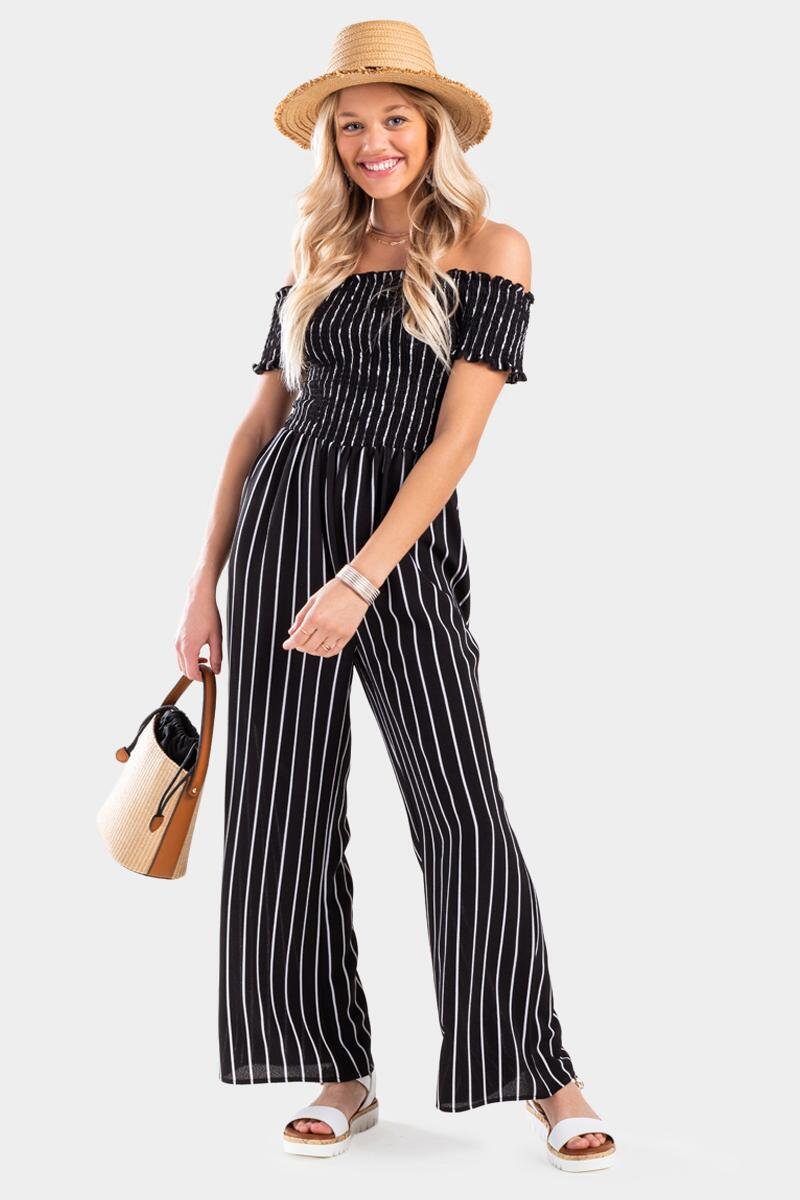 Casely Striped Off The Shoulder Jumpsuit