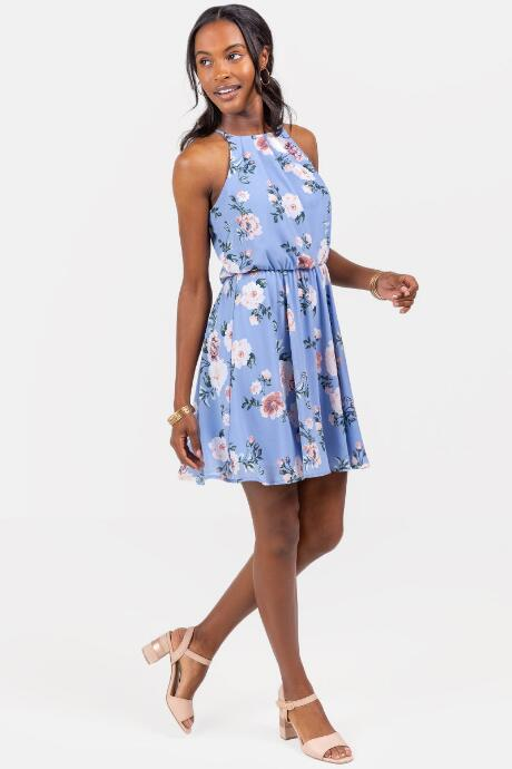 Flawless Dress Floral in Oxford Blue