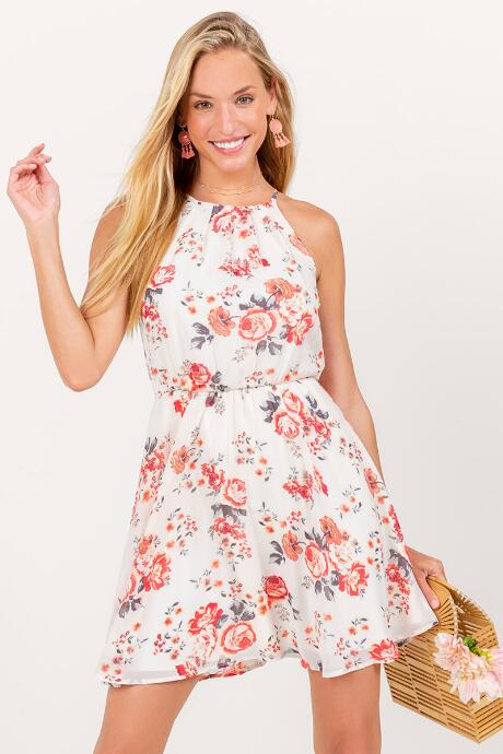 f0e90815455 Flawless Floral Dress in White