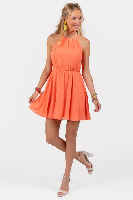 Flawless Solid Dress in Coral