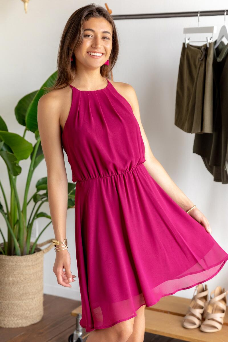 Flawless Solid Dress-Wine