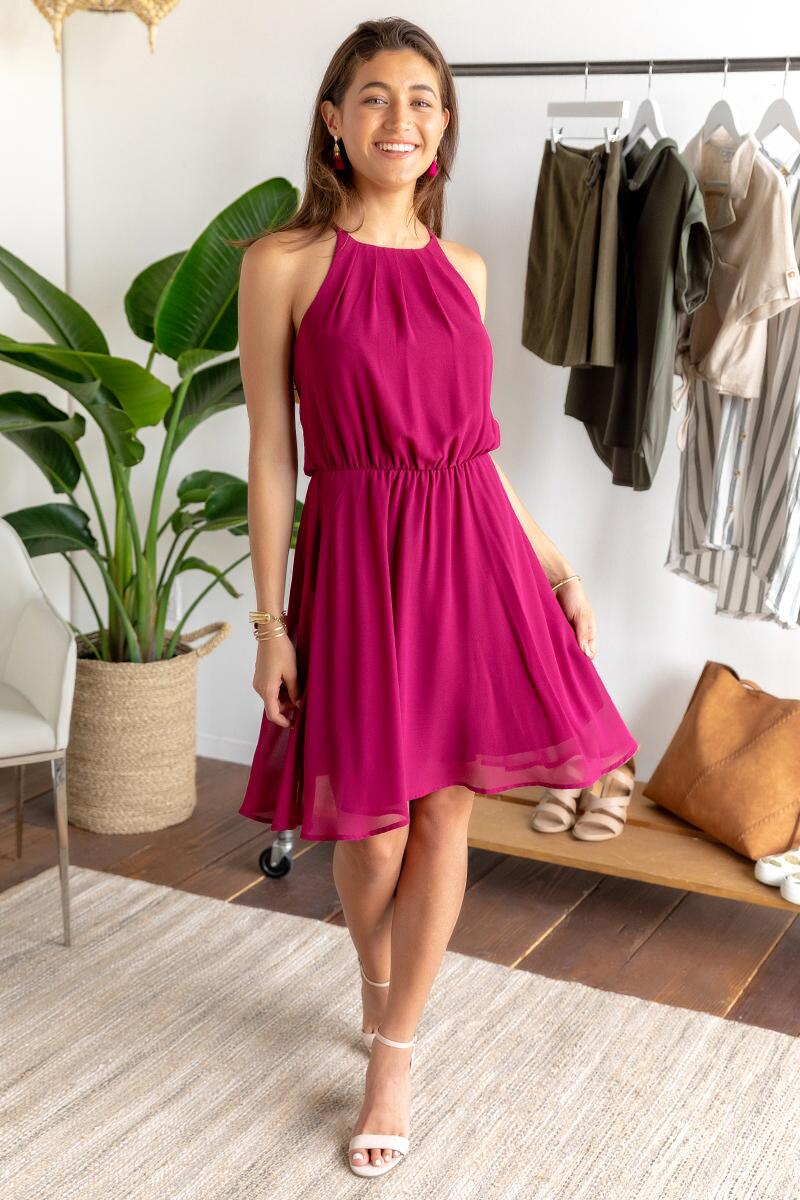 Flawless Solid Dress-Wine 4