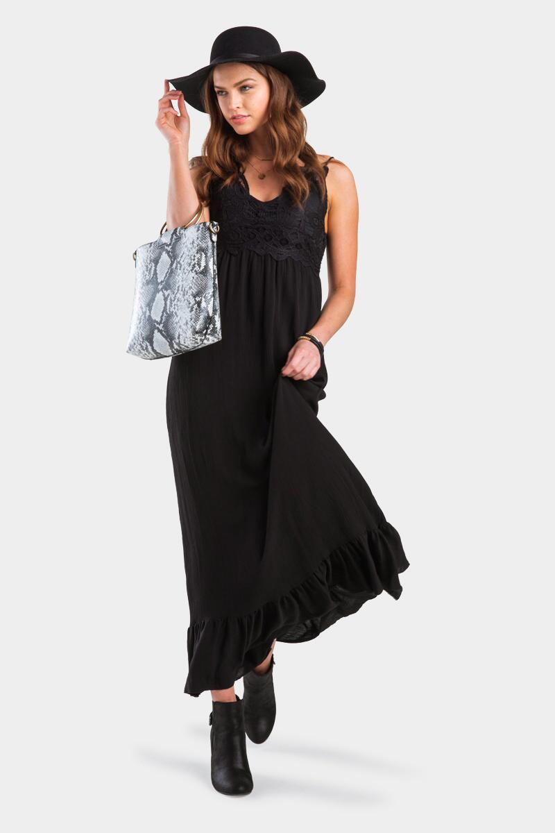 Quincey Bralette Maxi Dress-Black