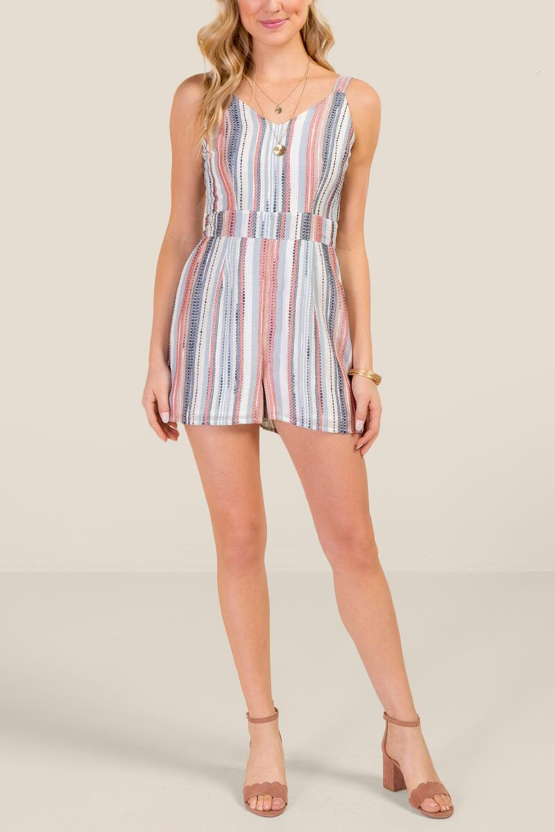 Juliana Striped Romper-  ivry-cl4